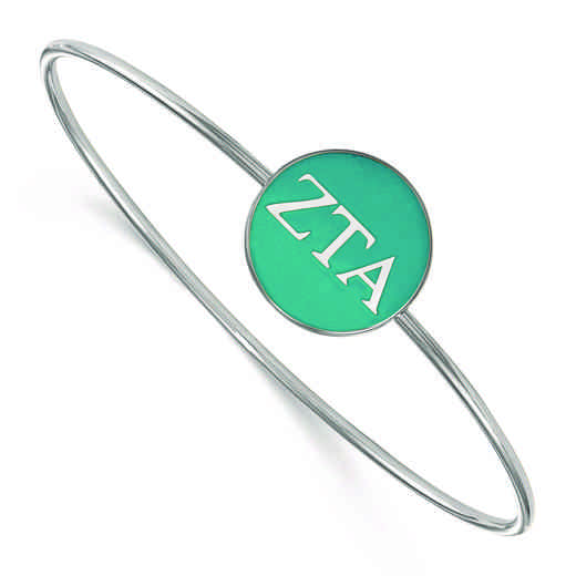 SS024ZTA-7: StrlngSlvr LogoArt Zeta Tau Alpha Enameled Slip-on Bangle