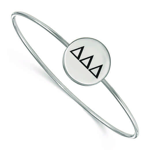 SS025DDD-7: StrlngSlvr LogoArt Delta Delta Delta Enameled Slip-on Bangle