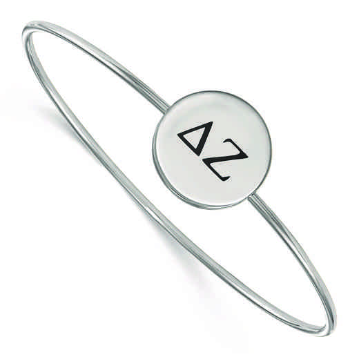 SS025DZ-7: StrlngSlvr LogoArt Delta Zeta Enameled Slip-on Bangle