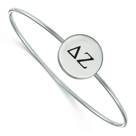 SS025DZ-8: StrlngSlvr LogoArt Delta Zeta Enameled Slip-on Bangle