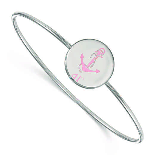 SS048DG-8: StrlngSlvr LogoArt Delta Gamma Enameled Slip-on Bangle