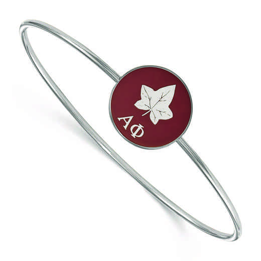 SS049APH-7: StrlngSlvr LogoArt Alpha Phi Enameled Slip-on Bangle