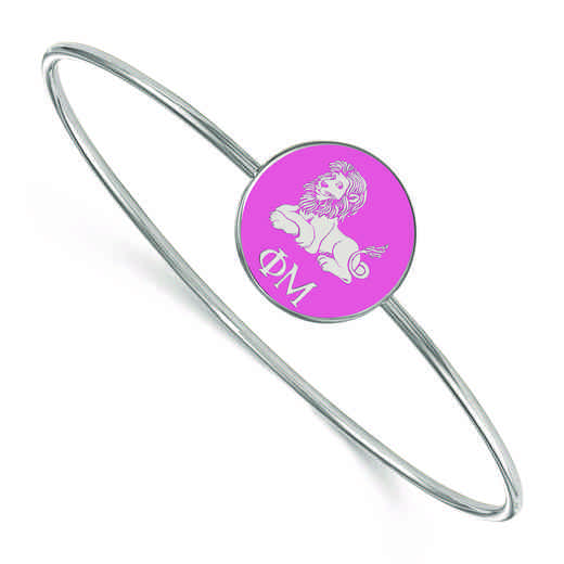 SS049PHM-7: StrlngSlvr LogoArt Phi Mu Enameled Slip-on Bangle