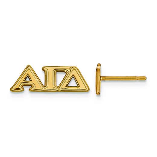 GP005AGD: SS w/GP LogoArt Alpha Gamma Delta XS Post Earrings