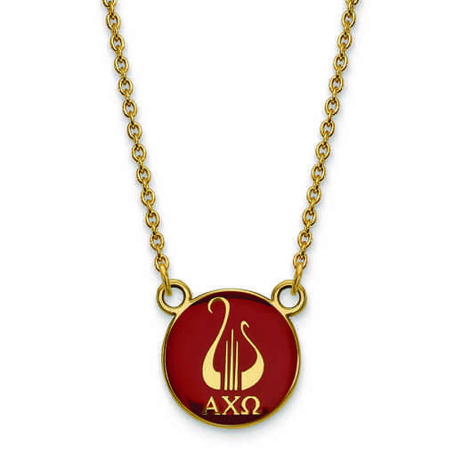 GP042ACO-18: SS w/GP LogoArt Alpha Chi Omega Small Enl Pend w/Necklace