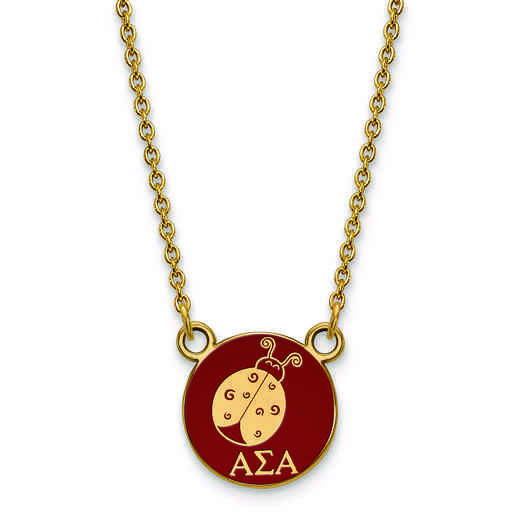 GP042ASI-18: SS w/GP LogoArt Alpha Sigma Alpha Sm Enl Pend w/Necklace