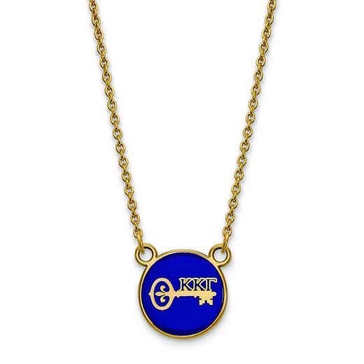 GP042KKG-18: SS w/GP LogoArt Kappa Kappa Gamma Sm Enl Pend w/Necklace
