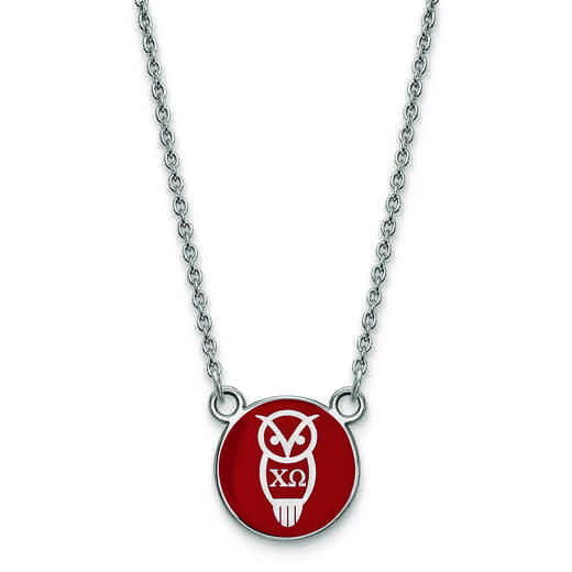 SS042CHO-18: SS LogoArt Chi Omega Sm Enl Pend w/Necklace