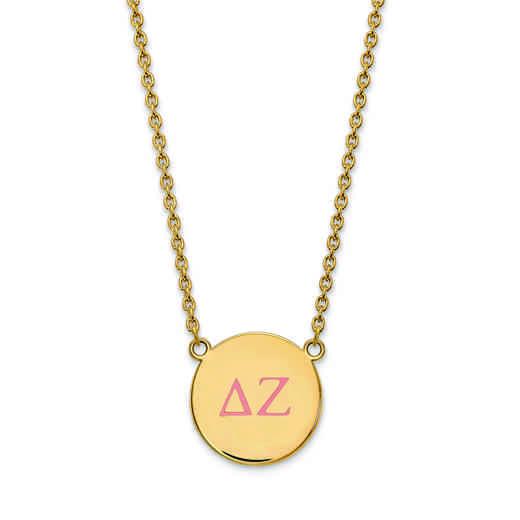 GP028DZ-18: SS w/GP LogoArt Delta Zeta Large Enl Pend w/Necklace