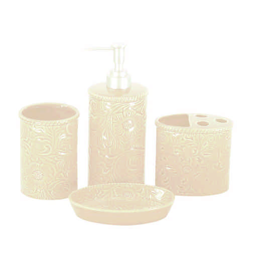 BA4001-OS-CR: HEA Savannah Bathroom Set, Cream