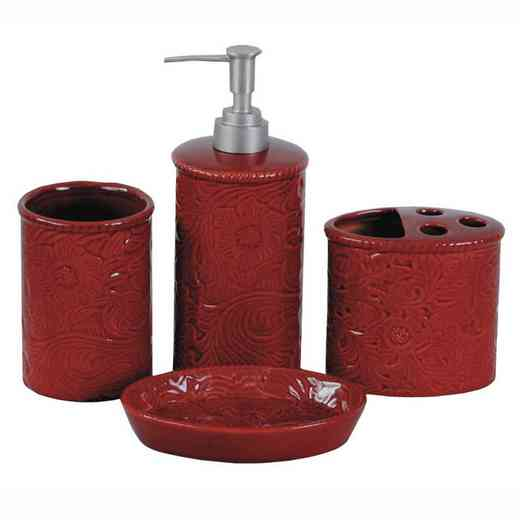 BA4001-OS-RD: HEA Savannah Bathroom Set - Red
