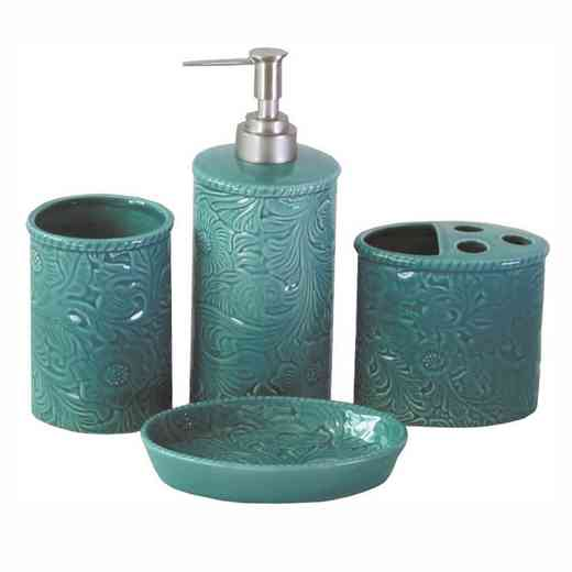 BA4001-OS-TQ: HEA Savannah Bathroom Set - Turquoise