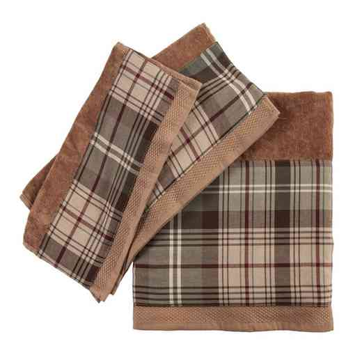 TL1733-OS-MC: HEA 3pc Forest Pines Plaid Towel Set, Mocha