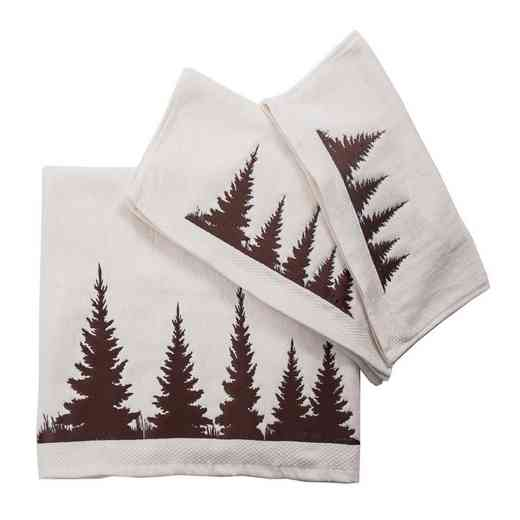 TL1763-OS-CR: HEA 3 pc Clearwater Pines Towel Set, Cream