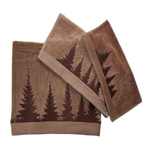 TL1763-OS-MC: HEA 3 pc Clearwater Pines Towel Set, Mocha