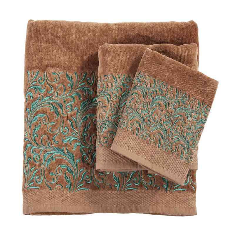 TW1762-OS-MC: HEA 3pc Wyatt Towel Set - Mocha
