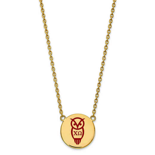 GP045CHO-18: SS w/GP LogoArt Chi Omega Large Enl Pend w/Necklace
