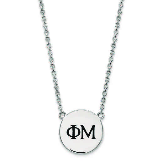 SS017PHM-18: SS LogoArt Phi Mu Small Enl Pend w/Necklace