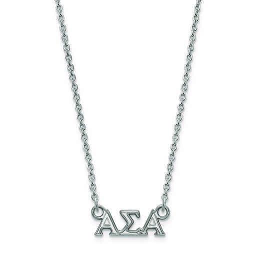 SS006ASI-18: SS LogoArt Alpha Sigma Alpha XS Pend w/Necklace