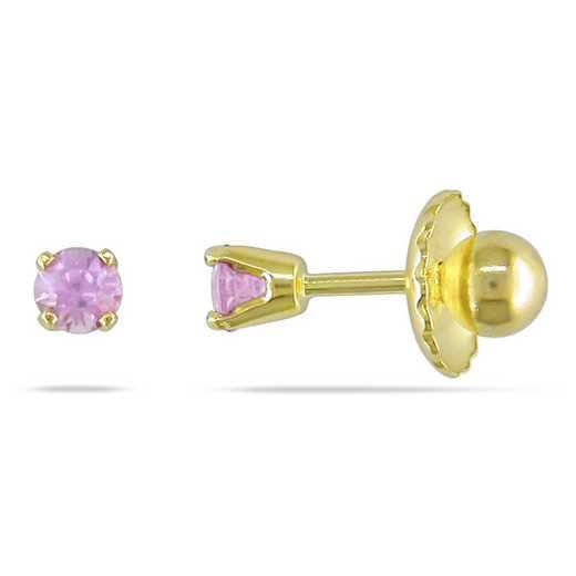 BAL000649: Baby Pk Sapphire Stud Earrgs  14k YLW GLD