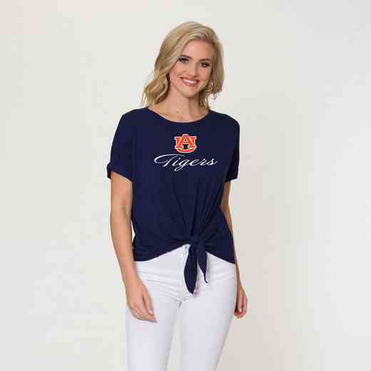 Auburn Tia- Tie Front Short Sleeve Top by Flying Colors