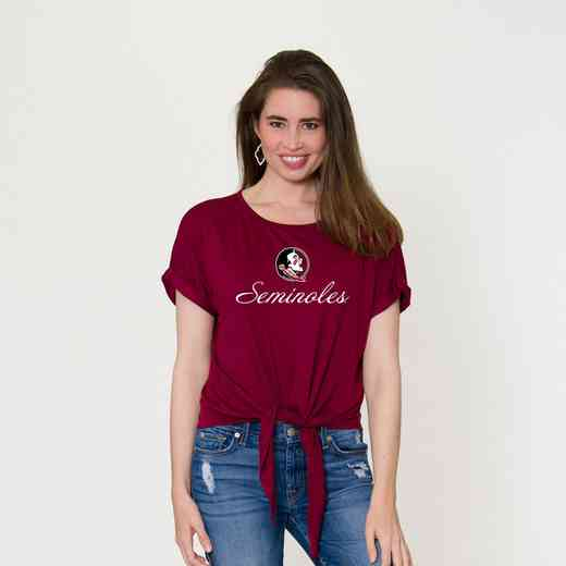 Florida State Tia- Tie Front Short Sleeve Top by Flying Colors