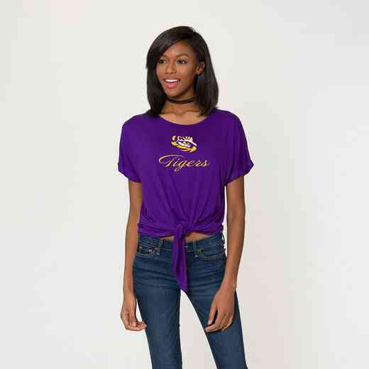LSU Tia- Tie Front Short Sleeve Top by Flying Colors