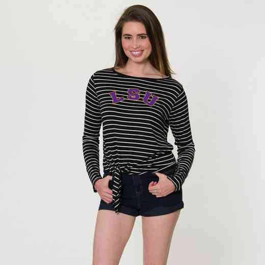 LSU  Tara Long Sleeve Tie-Front Top by Flying Colors
