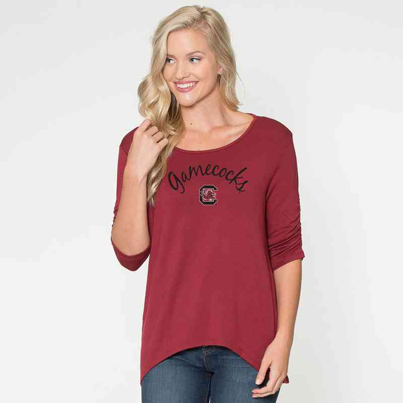 South Carolina- Anna Hi-Lo Scrunch Sleeve Top by Flying Colors