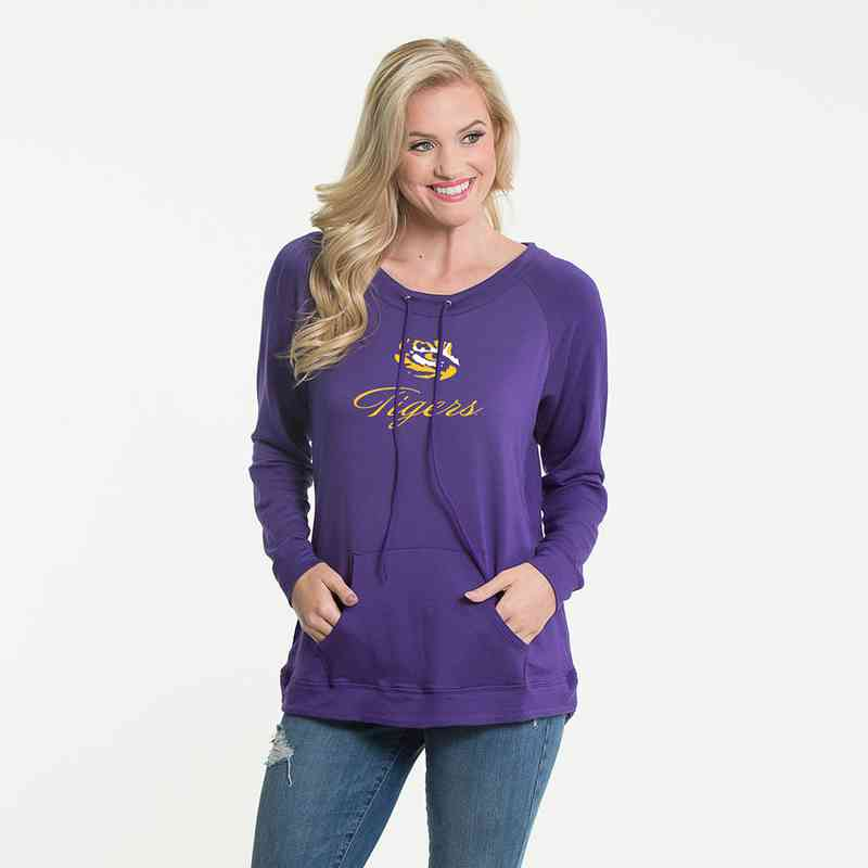 LSU- Katie Key-hole cut-out back pullover by Flying Colors