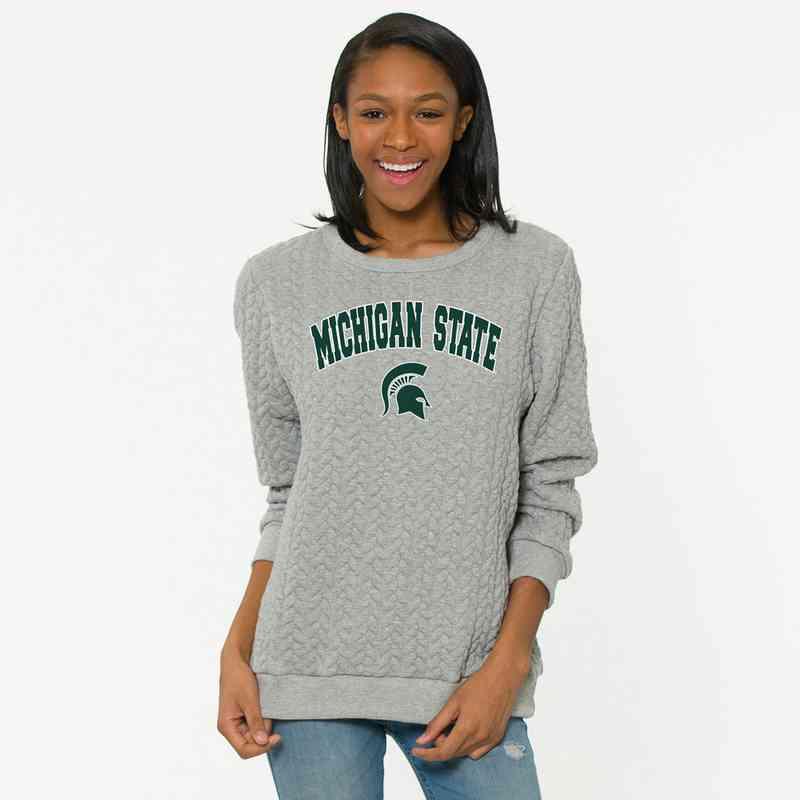 Michigan State  Jenny Braided Jacquard Crewneck Sweatshirt by Flying Colors