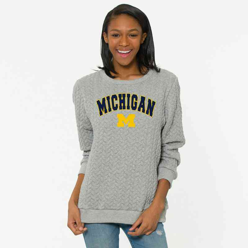 Michigan   Jenny Braided Jacquard Crewneck Sweatshirt by Flying Colors
