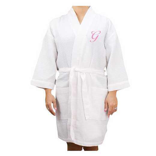 E7633128WHPKS: Embroidered Initial Waffle Weave Robe WHITE