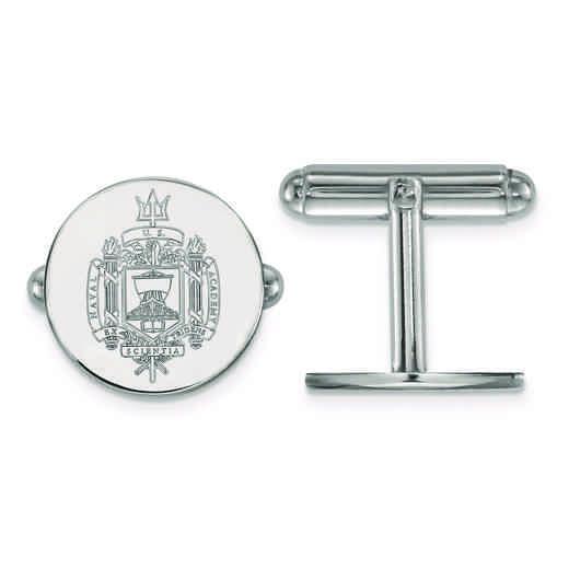 SS038USN: SS LogoArt Navy Crest Cuff Link