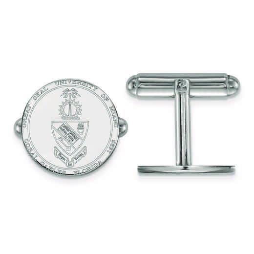 SS069UMF: SS LogoArt University of Miami Crest Cuff Link
