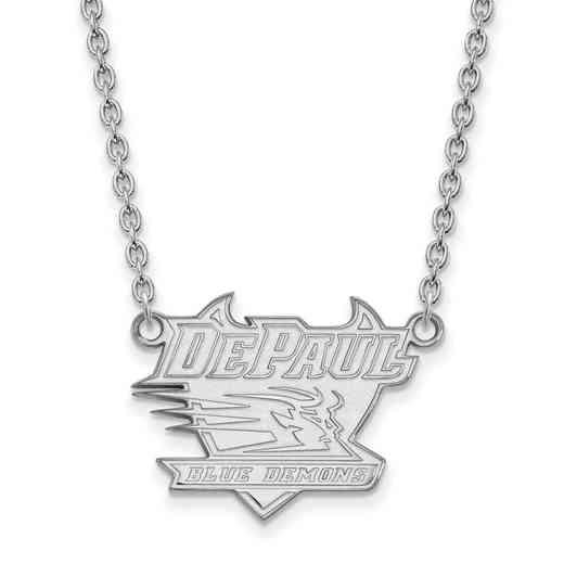 SS006DPU-18: SS LogoArt DePaul Univ LG Pendant w/Necklace