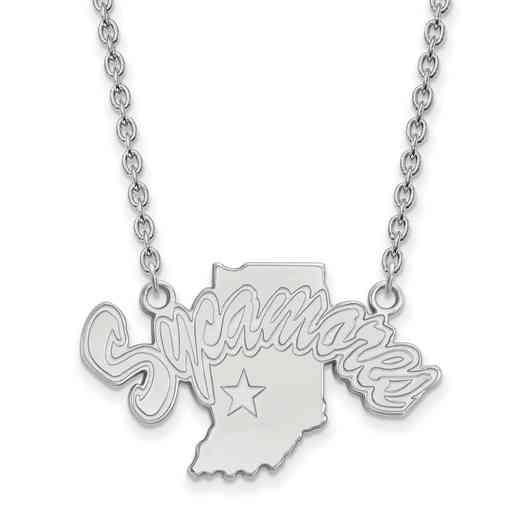 SS009ISU-18: SS LogoArt Indiana St Univ LG Pendant w/Necklace