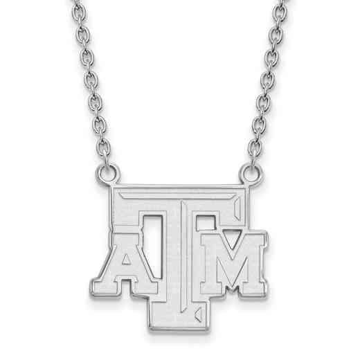 SS010TAM-18: SS LogoArt Texas A&M Univ LG Pendant w/Necklace