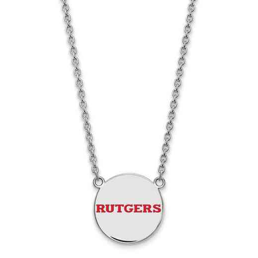 SS028RUT-18: SS LogoArt Rutgers LG Enamel Disc Necklace