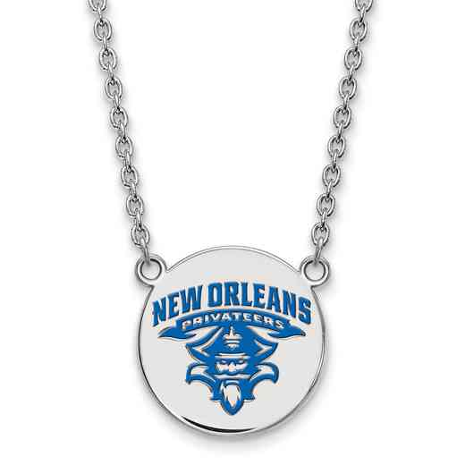 SS025UNO-18: SS LogoArt Univ of New Orleans LG Enamel Disc Necklac