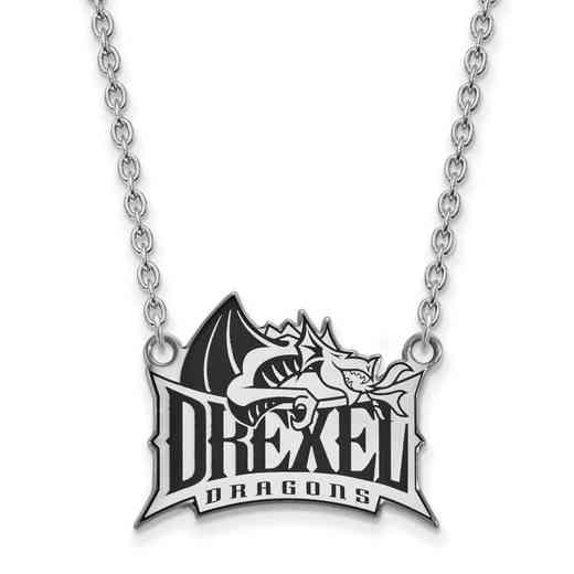 SS009DRE-18: SS LogoArt Drexel Univ Enamel LG Pendant w/Necklace