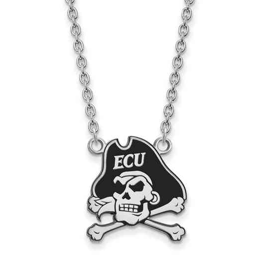 SS069ECU-18: SS LogoArt East Carolina U LG Enamel Pendant w/Necklace