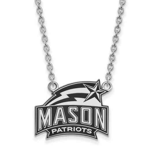 SS019GMU-18: SS LogoArt George Mason U LG Enamel Pendant w/Necklace