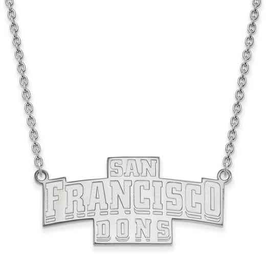SS011USF-18: SS LogoArt U of San Francisco LG Enamel Pendant w/Necklace