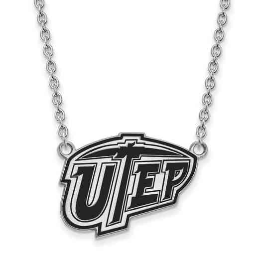 SS011UTE-18: SS LogoArt The U of Texas El Paso Lg Enl Pendant w/Necklace