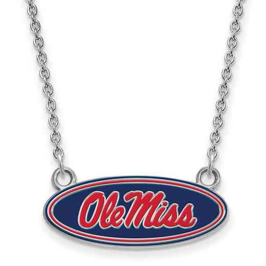SS077UMS-18: SS LogoArt U of Mississippi SML Enamel Pendant w/necklace