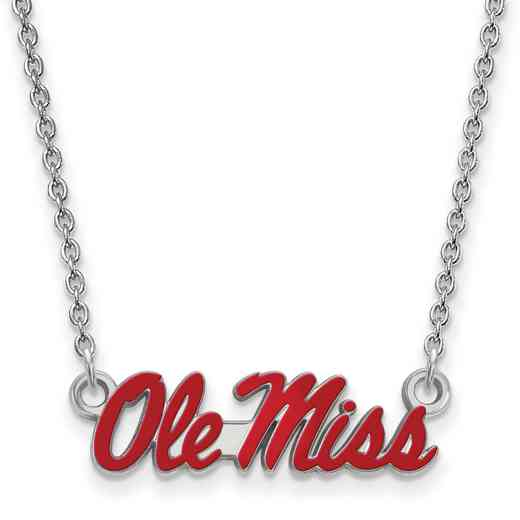 SS080UMS-18: SS LogoArt U of Mississippi SML Enamel Pendant w/necklace