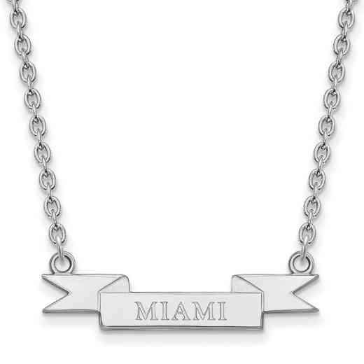 SS040MU-18: SS LogoArt Miami Univ SML Banner Pendant w/ Necklace