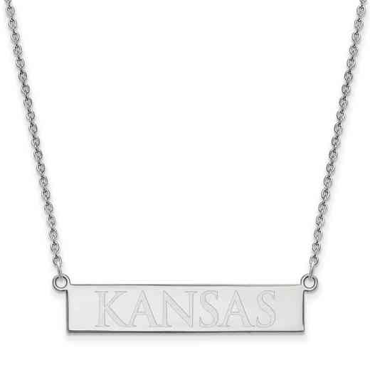 SS079UKS-18: SS LogoArt The Univ of Kansas SML Bar Necklace