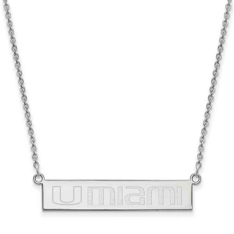 SS071UMF-18: SS LogoArt Univ of Miami Florida SML Bar Necklace